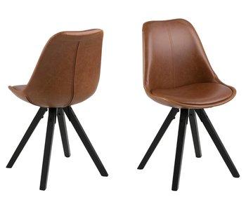 Chaise de salle à manger Dima aspect cuir vintag - marron - cuir artificiel PU