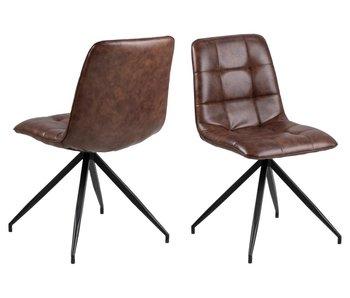 Chaise de salle à manger Capone - marron - siège PU/pieds noirs