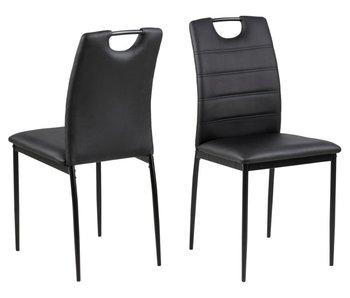 Chaise de salle à manger Slide - aspect cuir - noir - cuir synthétique PU / pieds en métal