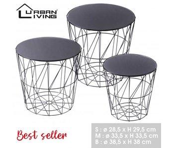 Petite table d'appoint - noir/plateau miroir 28,5xH29,5