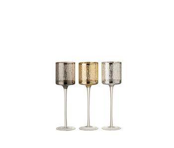 Theelichthouder Op Voet Graanmotief Glas Zilver/Goud/Grijs Large Assortiment Van 3