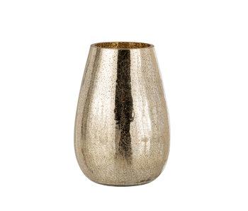 Windlicht Eivorm Craquele Glas Goud Large