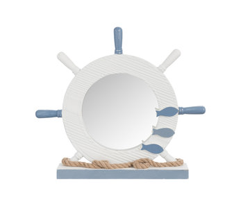 Miroir Gouvernail Bois/Verre Blanc/Bleu