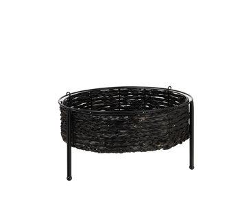 Bijzettafel Mand Metaal Riet Zwart