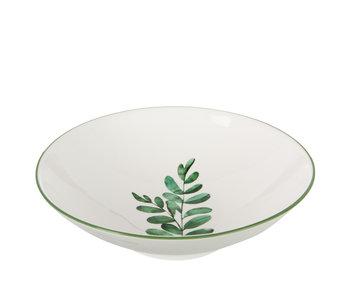 Assiette Deep Eucalyptus Porcelaine Blanc/Vert Large