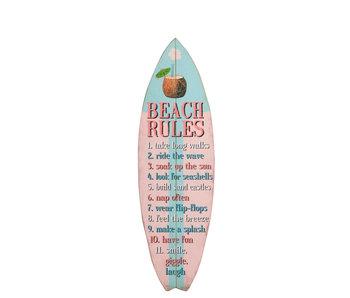 Plakkaat Surfplank Hout Roze/Blauw