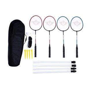 Badminton set 4 players - met net en draagtas