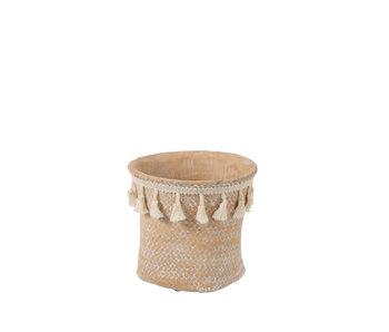 J-Line Pot de Fleurs Boho Ciment Beige Petit