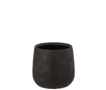 Pot de Fleurs Inégal Rugueux Céramique Noir Grand