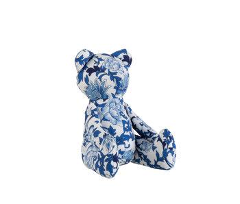 J-Line Teddybeer Bloemenprint Polyester/Textiel Blauw/Wit