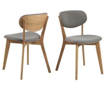 Chaise de salle à manger Minsk tissu Granada gris clair/pieds chêne