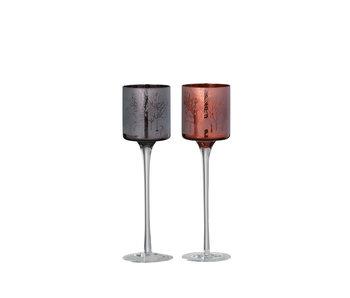 Theelichthouder Op Voet Herfst Glas Bruin Small Assortiment Van 2