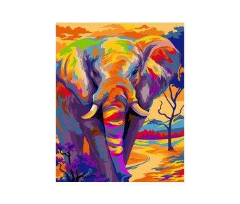 Schilderen op nummer:  Colourfol elephant / 40x50cm / 24 kleuren
