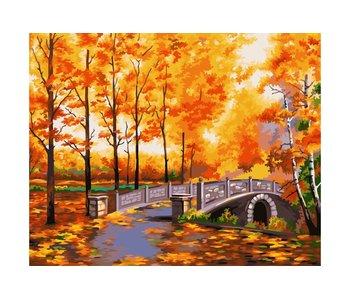 Schilderen op nummer:  Autumn Park / 40x50cm / 24 kleuren