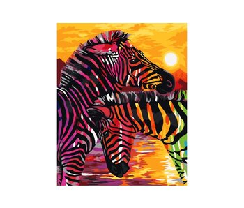 Schilderen op nummer:  Zebras / 40x50cm / 24 kleuren