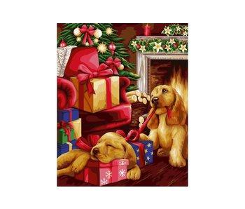 Peinture par numéros : Cadeaux de Noël / 40x50cm / 24 couleurs