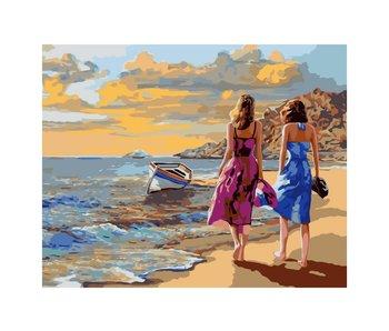 Peinture à numéros : Promenade sur la plage / 40x50cm / 24 couleurs