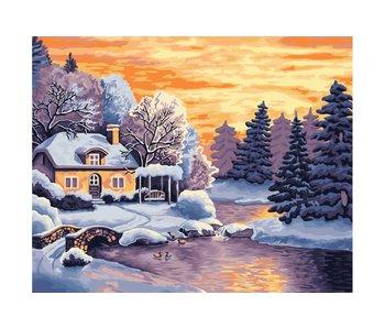 Peinture par numéros : Winter Country / 40x50cm / 32 couleurs