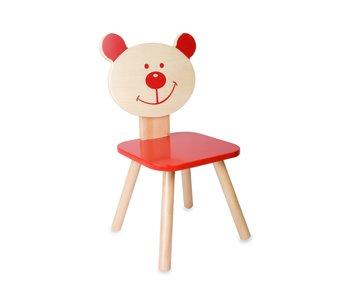 Stoel beer - rood/ 28x28x54 cm