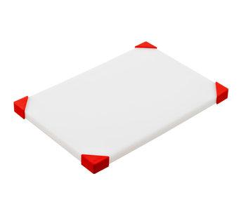 Planche à découper antidérapante coins blanc-rouge30,4x20,4x1,5cm