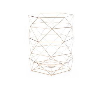 Vuilbak geometrisch 25.5x25.5x31cm koper metaal