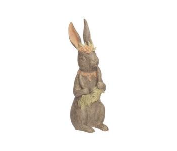 Lapin fille lavis marron 15x10,5xh35cm résine