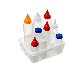 Organisateur gn1-2 blanc pour 11 distributeurs de sauce 32,5x26,5x10cm dont 1 distributeur de sauce