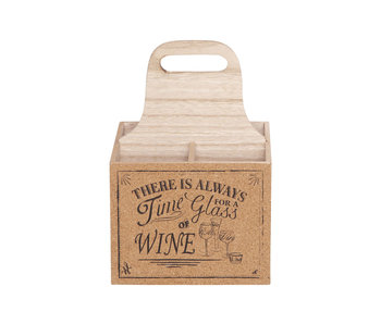 Wijnfleshouder 18,5x18,5xh27cm hout