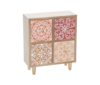 Ladenkast mandala terracotta 21,5x25,5xh10cm vierkant hout