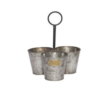 Pot trio bol poignée étiquette nature 12x12xh9.5cm rond zinc