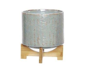 Pot de fleur pot d14cm incl socle bois gris-bleu 14x14xh18cm rond faïence