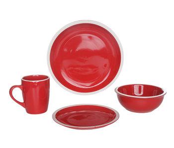 Service de vaisselle Inca 16 rouge m8.5x11 pd26.5xh1.5cm dd19.5xh1.5cm wd16.5xh6