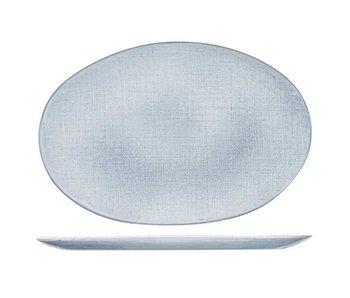 Assiette plate Sajet grise 35x24cm ovale
