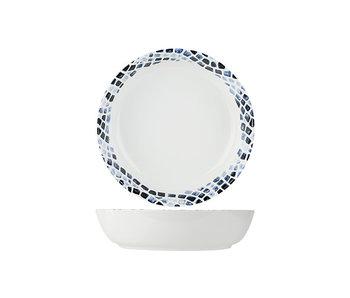 Assiette à pâtes bleu mosaïque d21,5xh5,3cmnouvelle porcelaine d'os