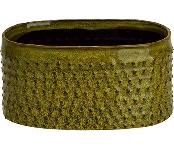Jardinière émaillée relief pois vert gazon 22x13xh10,5cm ovale faïence