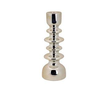 Kandelaar stacked zilver 9,5x9,5xh25,5cm rond keramiek