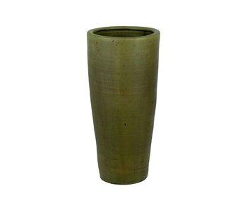 Pot de fleur motif grand vert mousse 28x28xh60cm rond conique faïence