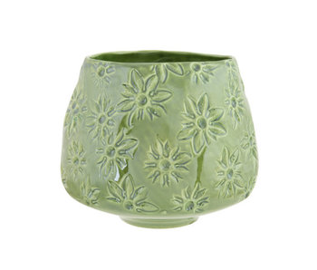 Pot de fleurs fleurs finition lustre vert 15.5x15.5xh13.5cm rond faïence