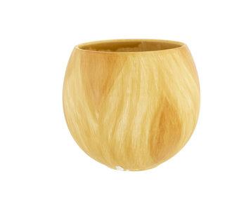 Pot de fleurs aspect bois d'olivier nature 12.5x12.5xh11cm sphère faïence
