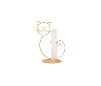 Houder cat 1x glass tube goud 14x10,5xh21,5cm metaal-glas
