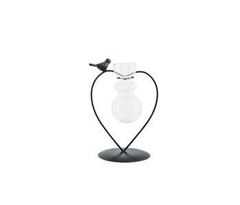 Support oiseau 1x vase en verre noir 14x10.5xh18cm coeur métal-verre