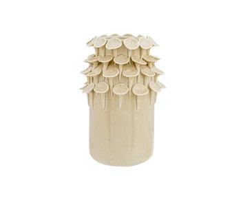 Vase pétales beige 11.1x11.1xh17.5cm rond en céramique