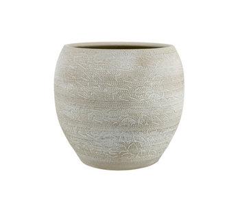 Pot de fleur lavis brut beige 22x22xh20cm rond conique faïence