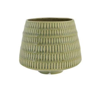 Pot de fleurs vert anis 15,5x15,5xh13,5cm rond conique faïence