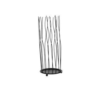 Theelichthouder swurly zwart 11,5x11,5xh31cm rond metaal