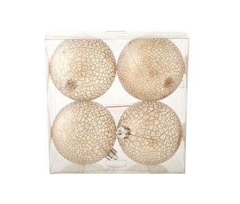 Set de boules4 8cm or transparent craquelé incassable en pet box