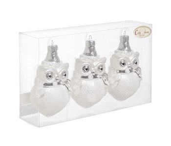 Chouette set3 argent-blanc 5.5x7xh12cm à suspendre déco plastique dans boite PVC