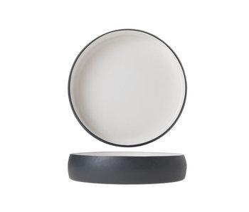 Assiette aluminium 22xh4cm émail blanc graphite gr.