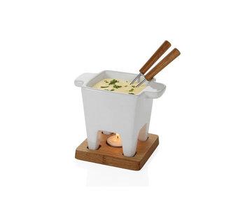 Service à fondue à tapas Bianco céramique blanche 200ml planche de chêne 13x13x13cm tlicht