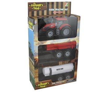 Tracteur 1:32 avec 2 remorques 26x10x38.5cm - assortiment